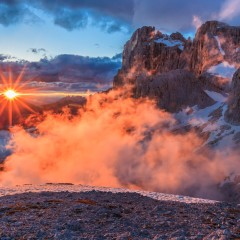 sunset landscape from Rosetta Mountain - San Martino di Castrozza, Italy